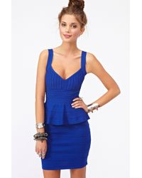 Nasty Gal Peplum Bandage Dress Blue - Lyst
