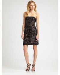 Sue Wong Embroidered Strapless Dress - Lyst