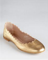 Chloé Flats Scalloped Ballerina - Lyst