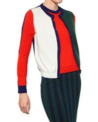 Kenzo Block Colour Wool Knit Cardigan - Lyst