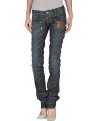 DSquared² Super Slim Lace Cotton Denim Jeans blue - Lyst