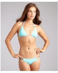 Just Cavalli Aqua Nylon Cut Out Sides Bikini Bottom - Lyst