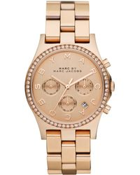 Marc By Marc Jacobs Women'S Chronograph Henry Rose Gold Ion Plated Stainless Steel Bracelet 40Mm Mbm3118 pink - Lyst