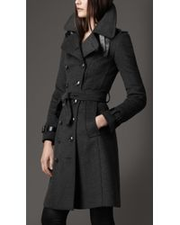 Burberry Long Wool And Cashmere Blend Trench Coat - Lyst
