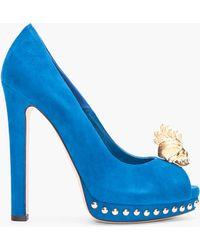 Alexander McQueen Blue Suede Skull Pumps - Lyst