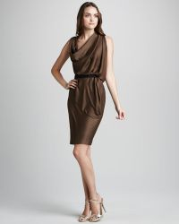 Halston Heritage Belted Drape Dress - Lyst