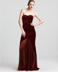 Zac Posen Strapless Gown Velvet - Lyst