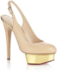 Charlotte Olympia Dolly Leather Slingback beige - Lyst