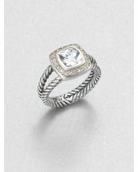 David Yurman Diamond Accented White Topaz Sterling Silver Ring - Lyst