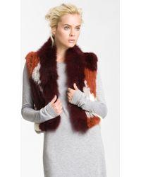 Elizabeth And James Sean Genuine Rabbit Coyote Fur Vest - Lyst