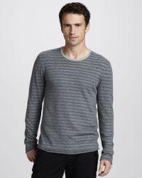 John Varvatos Striped Doublelayer Sweater - Lyst