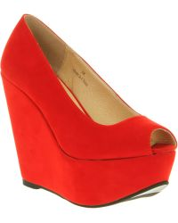 Office Witch Craft Wedge Red Microsuede - Lyst