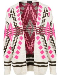 Topshop Knitted Aztec Festival Cardi pink - Lyst
