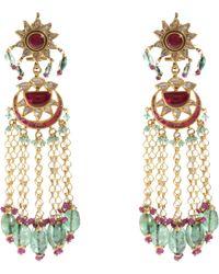 Munnu - Diamond Ruby Emerald Pearl Drop Earrings - Lyst