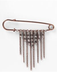 Natasha Couture Burnished Safety Pin Brooch - Lyst