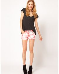 Textile Elizabeth and James - Textile By Elizabeth James High Waist Shorts in Red Tie Dye with Studding Detail - Lyst