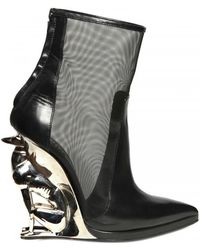 Alain Quilici For David Koma 130mm Greyhound Net Leather Boots black - Lyst