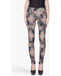 Alice + Olivia Skinny Multicolor Floral Jeans - Lyst