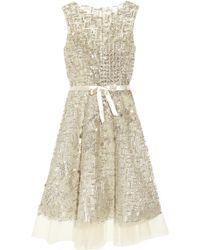 Oscar de la Renta Embellished Tulle Dress - Lyst