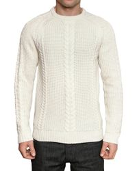 Aquascutum Cabel and Ribbed Knit Sweater - Lyst