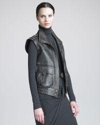 Donna Karan New York Distressed Leather Vest - Lyst