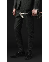 Burberry Prorsum Skinny Fit Wool Tweed Trousers - Lyst