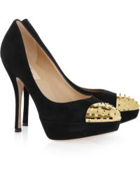 Valentino Studded Toe Cap Suede Pumps - Lyst
