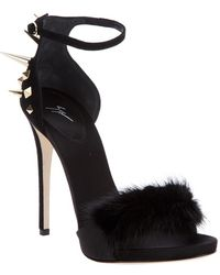 Giuseppe Zanotti High-Heel Ankle-Strap Sandal With Fur Detail - Lyst