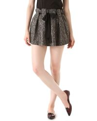 Thakoon Addition Boiled Tweed Belted Ruffle Miniskirt - Lyst