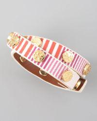 Tory Burch Striped Logo Wrap Bracelet - Lyst