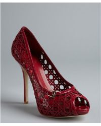 Dior Cranberry Cannage Cutout Patent Leather Peep Toe Pumps - Lyst