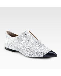 3.1 Phillip Lim Pebbled Leather Laceless Oxfords white - Lyst