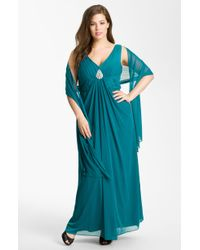 Alex Evenings Pleated Mesh Gown Shawl - Lyst