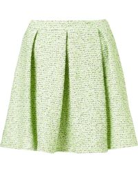 Topshop Fluro Boucle Pleated Skirt green - Lyst