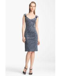 Armani Paillette Velvet Jersey Dress - Lyst