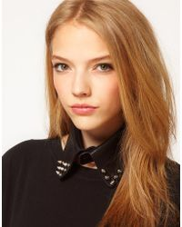 Asos Pointed Stud Leather Collar black - Lyst