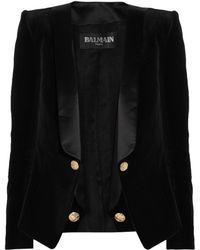 Balmain Velvet and Satin Blazer black - Lyst