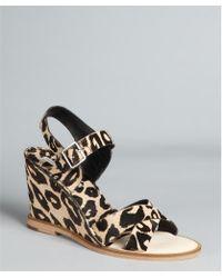 Diane von Furstenberg Leopard Print Pony Hair 'Dagga' Wedges - Lyst