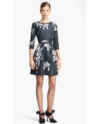 Oscar de la Renta Belted Print Silk Faille Dress - Lyst
