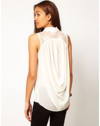 River Island Sleeveless Cowl Back Shirt - Lyst