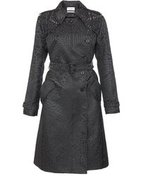 Saint Laurent Leopard Jacquard Trench Coat - Lyst