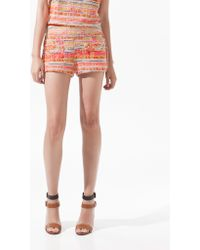Zara Printed and Studded Shorts - Lyst
