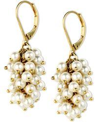 Anne Klein - Gold Tone Imitation Pearl Shaky Drop Earrings - Lyst