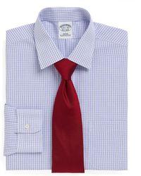 Brooks Brothers Non-Iron Regent Fit Short-Sleeve Sidewheeler Tattersall Dress Shirt - Lyst