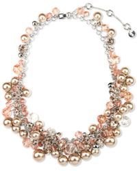Givenchy Silver Tone Blush Glass Pearls and Glass Cubic Zirconia Collar Necklace silver - Lyst