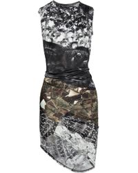 Aminaka Wilmont Printed Draped Satin Jersey Dress - Lyst
