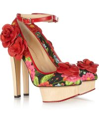 Charlotte Olympia Flora Printed Crepe Covered Leather Pumps multicolor - Lyst