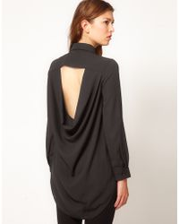 TFNC Drape Open Back Shirt black - Lyst