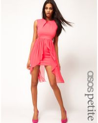 Asos Exclusive Cut Out Bodycon Dress with Chiffon Skirt - Lyst