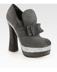 Miu Miu Suede and Glitter Coated Bow Platform Booties - Lyst